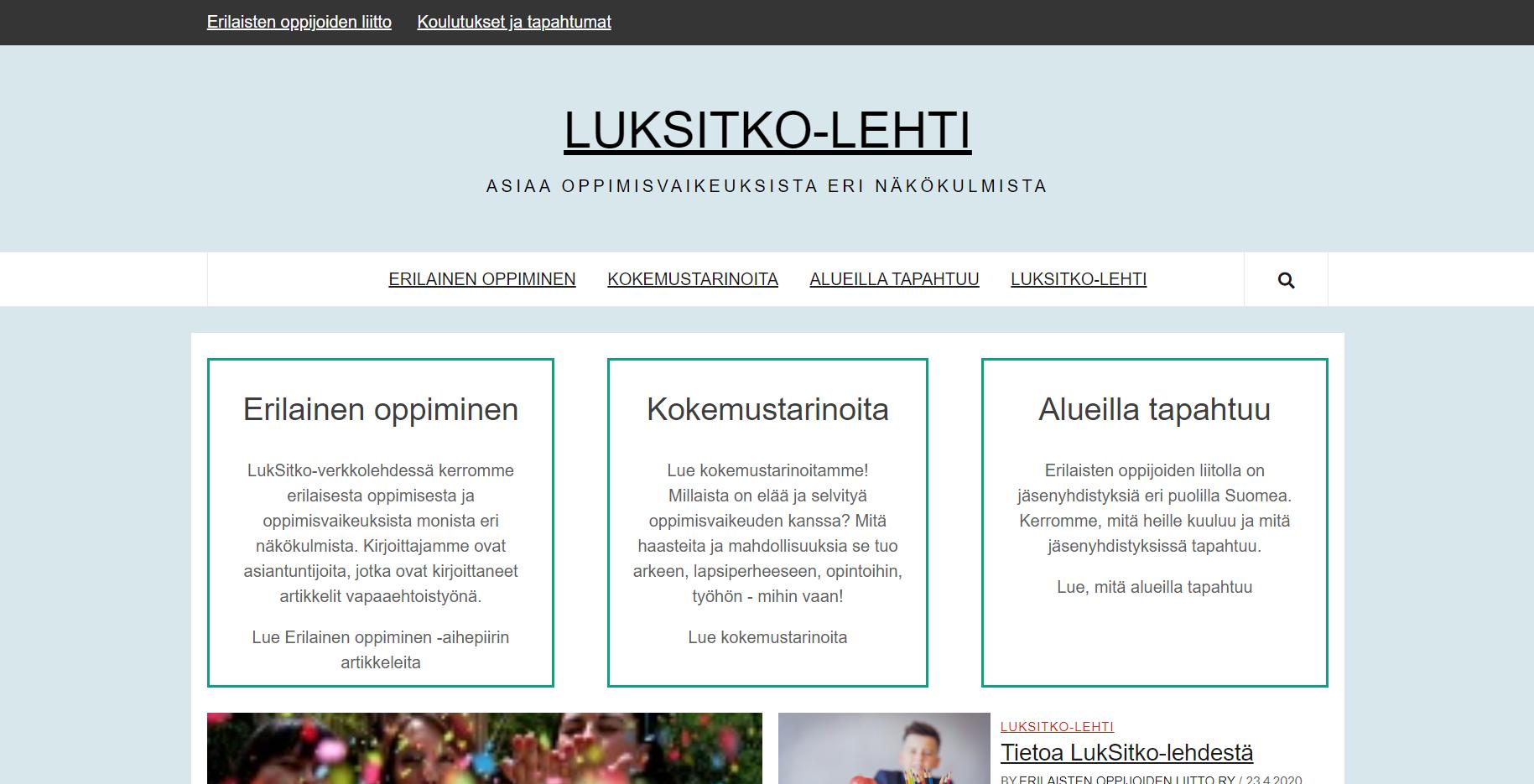 LukSitko-verkkolehti etusivun näkymä