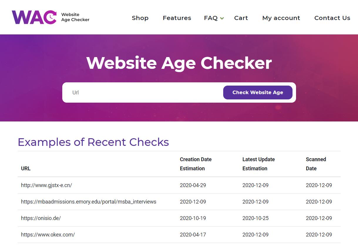Website Age Checker