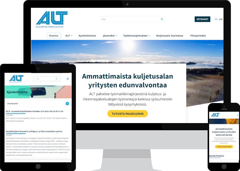 Verkkosivut ja yritysilme ALT ry:lle - kotisivujen suunnittelu Verkkovaraanilta