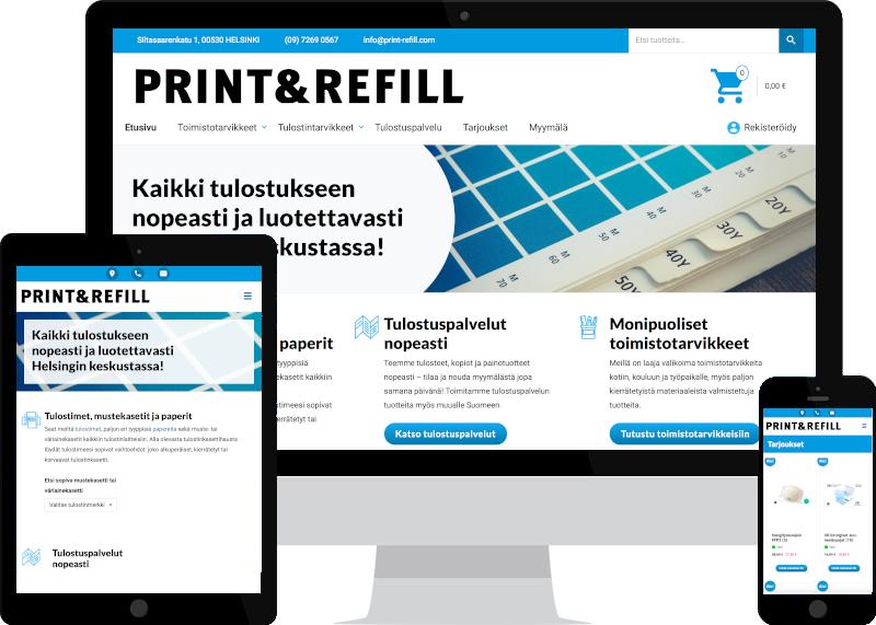WooCommerce-verkkokauppa perustaminen ja digimarkkinointi Print & Refillille - kotisivujen suunnittelu ja verkkokaupan suunnittelu Verkkovaraanilta