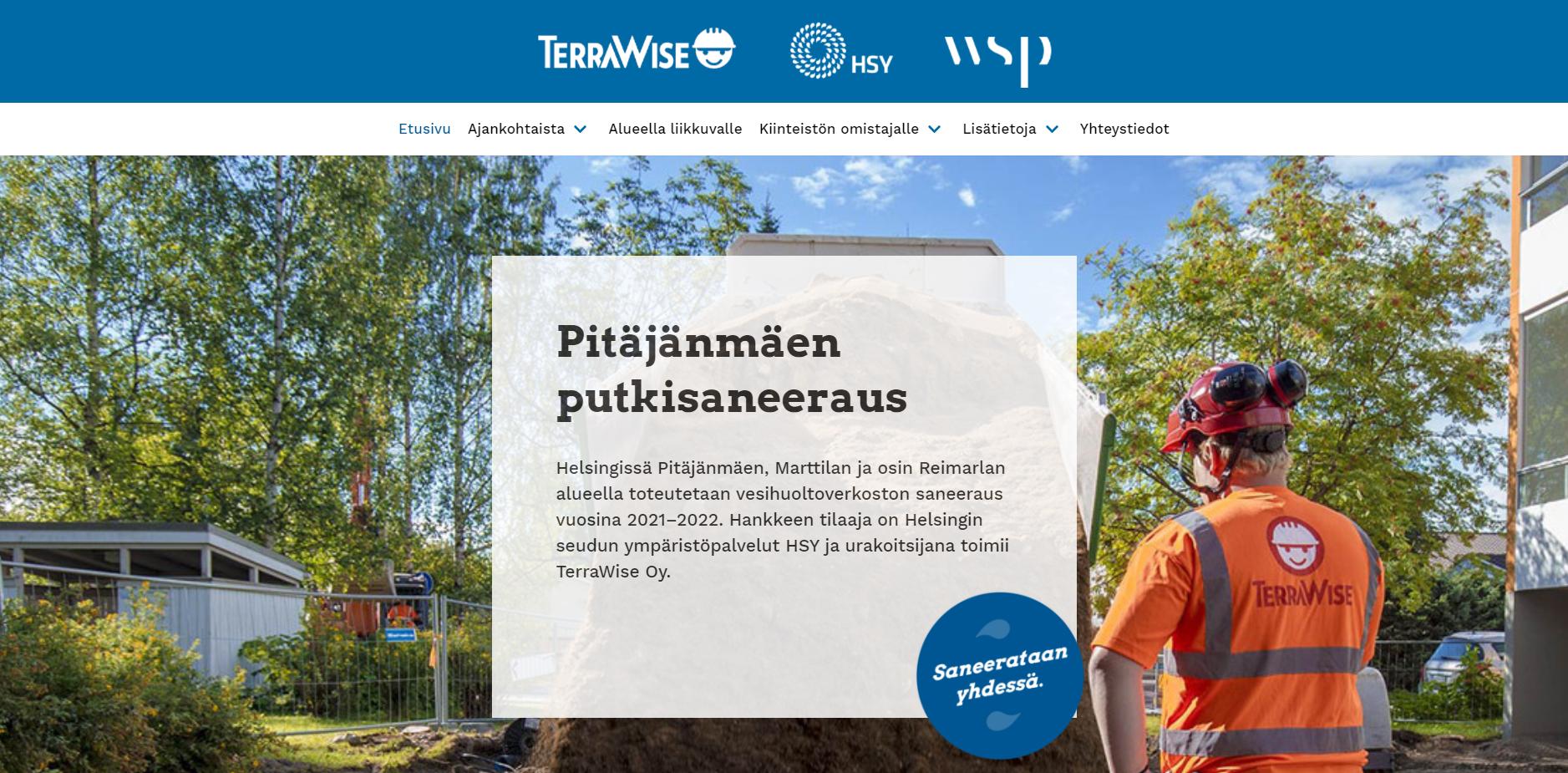 Saavutettavat verkkosivut hankkeelle Pitäjänmäen putkisaneeraus