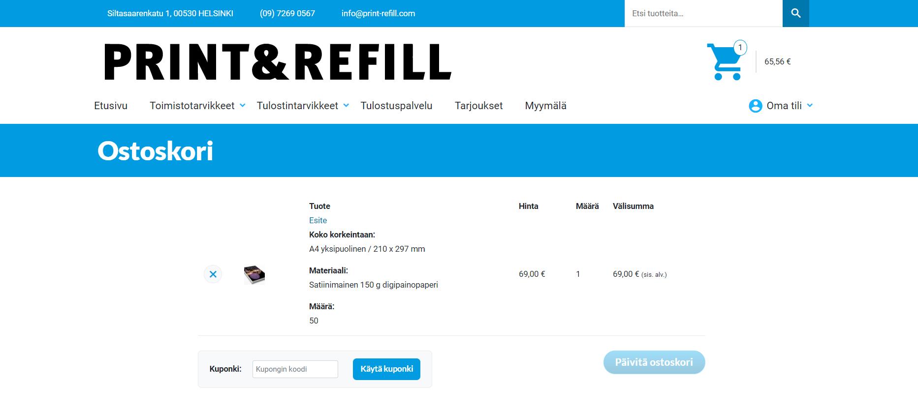 Verkkokaupan myynti kasvuun - Print & Refill ostoskorisivu