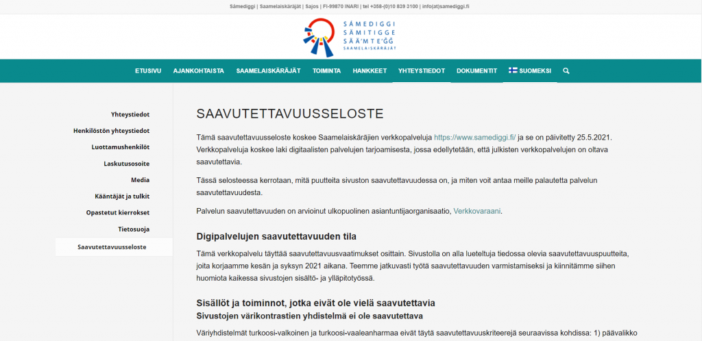 Saavutettavuustestaus samediggi.fi - Verkkovaraani